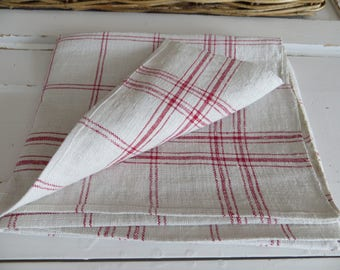 "German Large Thickly Handwoven Linen Red Stripes  Towel Runner Dish Cloth Never Used 29 "" by 31  Upholstery Garden Fabric Vintage Shabby"