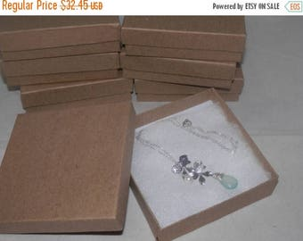 "On Sale 100 Pack Kraft Presentation Boxes 3.5""x3.5""x1"" Cotton filled gift and Retail Jewelry Boxes"