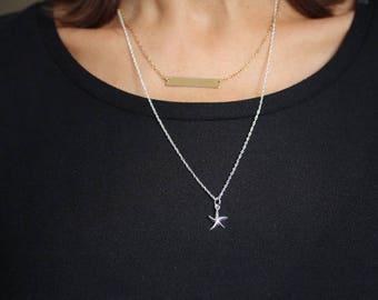 Silver starfish necklace -  starfish charm, Ocean Beach Charm Necklace- Starfish pendant-Starfish Charm. Small Starfish necklace.