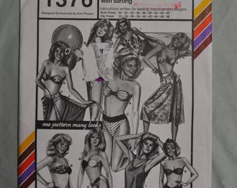 Bikini and Blouson Swimsuits with Sarong Pattern - Bust 30-46 - Hip 32 to 48 - Mostly Uncut - Stretch & Sew 1376