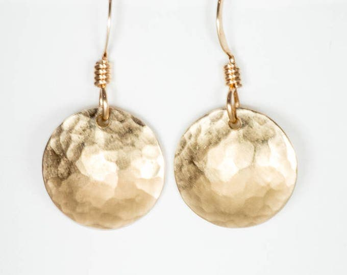 1/2 Inch Domed Earrings - 14k Gold Fill Hammered Discs