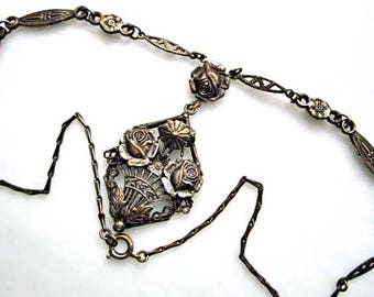 Vintage Floral Mourning Pendant, Dark Silver Grey Roses Flower Bouquet Basket, Ornate Pewter Floral Chain, Edwardian Necklace Late Victorian