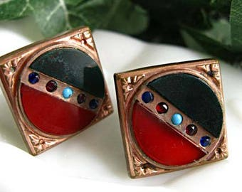 Victorian Earrings Rose-Goldfilled Circle Squares, Bloodstone and Carnelian, Garnet Sapphire Accents, 12k Goldfilled Screwbacks, Converted