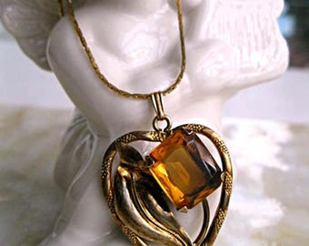 Vintage Heart Pendant Golden Topaz Glass, Curving Leaf Nouveau Style Open Frame, Faceted Rectangle Stone, Sweetheart Gift Necklace