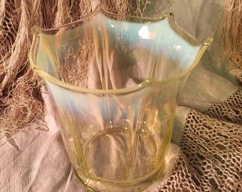Antique Lamp Shade Art Nouveau Art Glass Lamp Shade Gorgeous muted Lemon Yellow