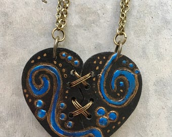 Ex Marks The Heart, Mended Heart Necklace, Broken Heart Necklace, Statement Necklace, Stitched Heart, SteamPunk Necklace, Heart Art