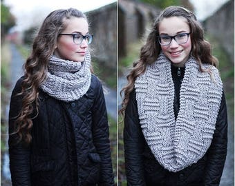 KNITTING PATTERN - clay infinity scarf, cowl, womens scarf pattern - Listing25