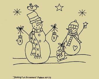 "Primitive Stitchery E-Pattern,""Skating Fun Snowmen!"""