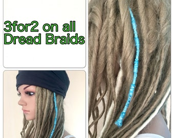 3for2 dread braids accessories Designer unique womens teens handmade dread tube hippy hippy boho festival ski dreadlocks hair jewellery ocea