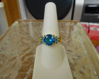 Mind Blowing Sky Blue Victorian Style Ring-size 8-R712