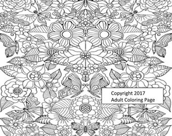 Plants Coloring Page Figure 1.  Printable Coloring Page, Instant Download, Adult Coloring Page.