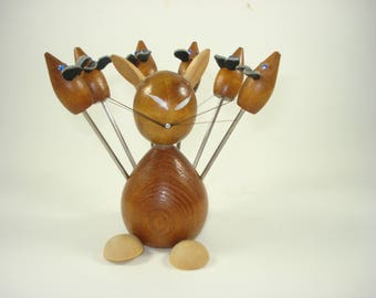 Vintage Teak Cat and Mice  -  Cheese Picks and Holder - Set of 6 - MId Century Modern   1960s