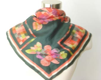 Vintage Green Floral Square Scarf  - Green and Red Satin Scarves - Womens Autumn Fall Accessories