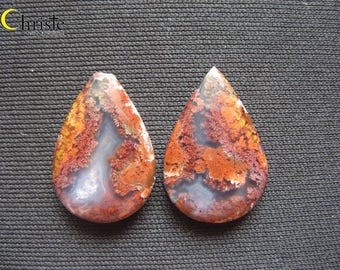 Natural scenery red dendritic quartz picture moss agate pear drop pair cabochon 17x24-26x3.5mm