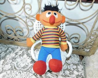 Ernie Doll Stuffed Doll 1984, Sesame Street Ernie Doll, Vintage Preschooler Toys, Vintage Cloth Doll,