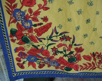 "Vintage Tablecloth, 100% Cotton, Provence Style  Blue, Yellow, & Red, Border Design, 68 x 102"", With 4 Matching Napkins, Summer Picnic"