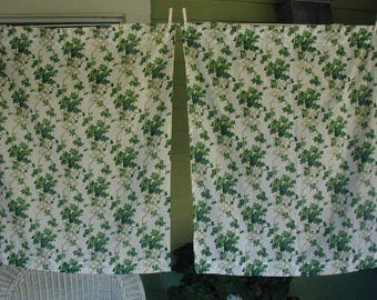 """Vintage Curtain  Panels, Pair of Curtains, Trailing Ivy on Lattice, 29 1/2"""" wide x 36"""" long, Kitchen Curtains, Shabby Cottage"""