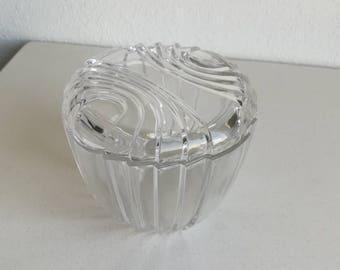 Vintage art deco covered glass dish