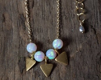 SPRING SALE Opal Necklace, Gold Opal Necklace, Simple Opal Necklace, Gold Triangle Necklace, Geometric Necklace, Simple Necklace, Layering N