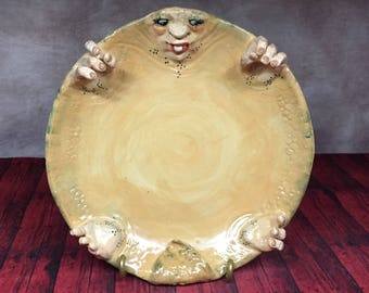 CRITTER PLATE - Wheel thrown, hand altered and sculpted ceramic plate or wall hanging. A friendly face to serve your guests for any occasion