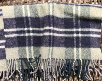 Vintage Scottish 100% Lambswool Scarf ~ Blue Shades Tartan Plaid ~ Extra Long