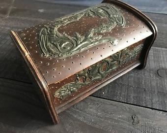 Art Nouveau Wooden Casket, Pewter Griffon Appliqué, Antique Storage Jewelry Box
