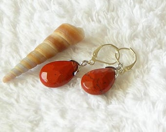 "Petite Red River Jasper semi precious natural stone Faceted teardrop shaped silver 1.5"" long dangle lever back earrings"
