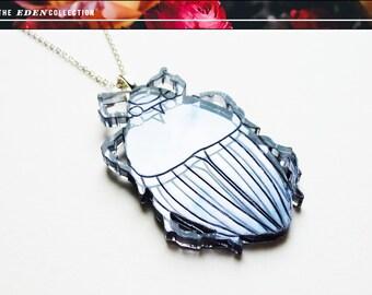 Metallic Acrylic Beetle Necklace