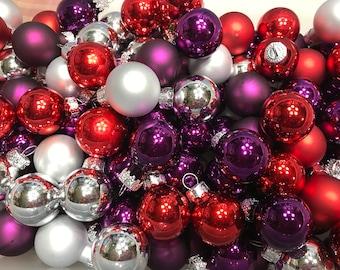 10 piece assorted matte and shinny mini glass Christmas ball mix, 25 mm (LR14)