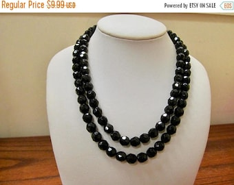 ON SALE Vintage Black Facetted Glass Beaded Double Strand Necklace Item K # 1561