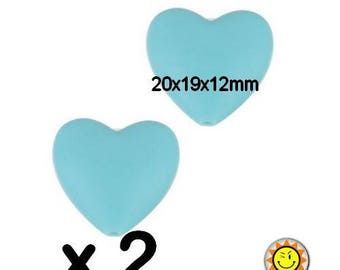x 2 heart standards blue 20mm silicone beads food teething