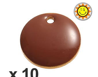 x 10 sequins 12mm Brown enamel charms