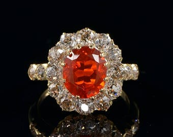 Spectacular Victorian fire opal and diamond rare ring