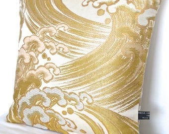 Stunning Metallic Gold Hokusai Wave inspired Luxury Pillow Cushion Ltd numbered edition made from rare Vintage Japanese Obi Silk