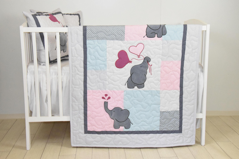Baby Girl Blanket Pink Gray Elephant Quilt Blue Crib