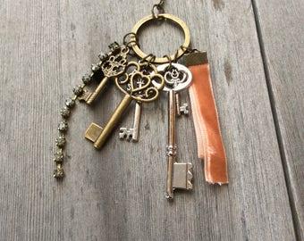 Gathered Keys Necklace/Long Necklace.Boho/Keys