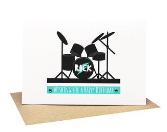 Birthday Card Boy - Drum Kit - HBC230 / Wishing you a Happy Birthday for the Rock Star Birthday Boy