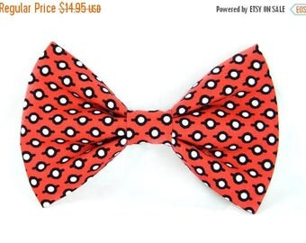 ON SALE Red and Black Dog Bow Tie; Dog Bow: Windsong Dot