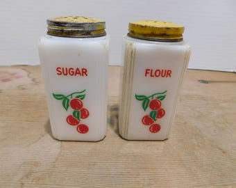 Vintage Cherries on White Milk Glass Flour and Sugar Aluminum Lids