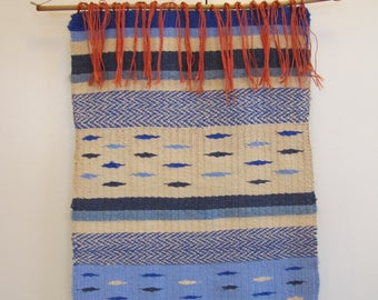 1970's Hand Woven Blue Ombre Wool Fiber Art Wall Hanging, Orange, Wall Hanging, Blue, Wool, Modern, Long, Hand Woven, Textile, Fiber Art