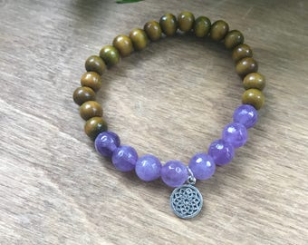 Crown Chakra Mala Bracelet, Amethyst, Sandalwood, Intrinsic Journeys Jewelry
