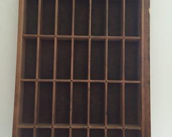 "VINTAGE Wood Printer's Tray 11""w x 17.5""L x 1.5""D"