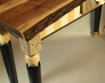 COMING SOON Live Edge Collection Shown with Turned Leg Sofa Table