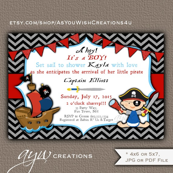 Boy Baby Shower Invitation Pirate Ship Pirate Baby Brunch Coed
