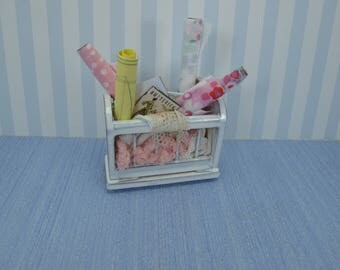 Gaël Miniature shabby chic Furniture - Auxiliary unit with complementary sewing french style for French dollhouse in 1:12 scale