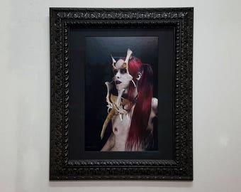 Witchcraft, dark art, witches, redhead, vampire, vamp, occult art, bone mask, gothic, goth art, red hair, pale skin, photo, The Witch framed