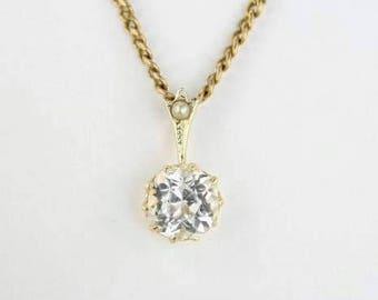Antique Paste Pendant, Rock Crystal, Victorian Pendant, Edwardian Necklace