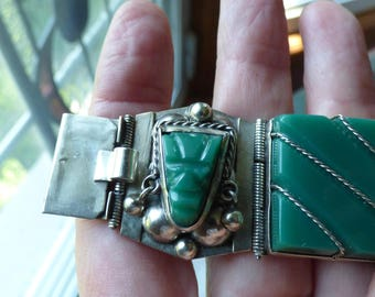 Old Mexico taxco heavy sterling link bracelet with green onyx aztec masks