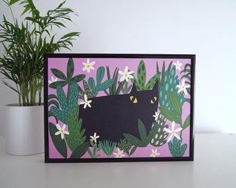 Black Cat and Plants Print - A4 Print - Cat print - I like Cats - Cat illustration - Black Cat - Plants - Pink print - Cats and Plants - Art