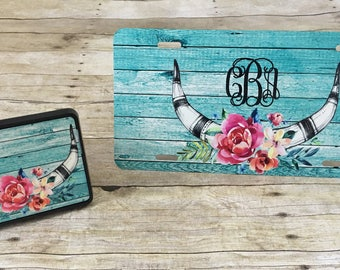Personalized Rustic Wood with Antlers and Flowers Roses Design License Plate Monogrammed License Plate or Trailer Hitch Cover